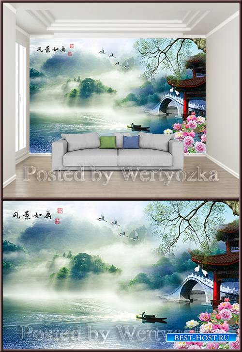 3D psd background wall chinese painting beautiful landscape