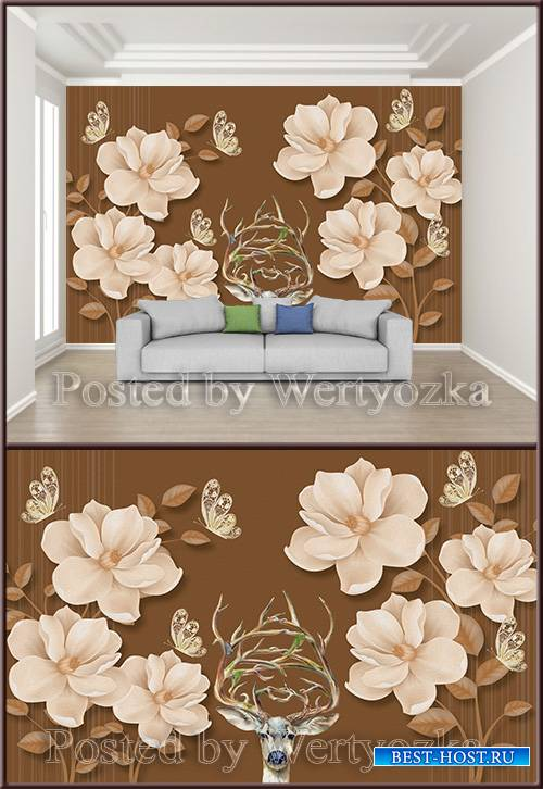 3D psd background wall beautiful flower butterfly deer