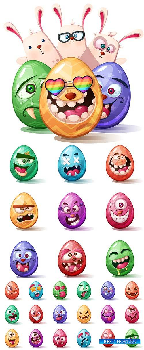 Смешные яйца в Пасхе - Векторный клипарт / Funny eggs in easter - Vector Graphics