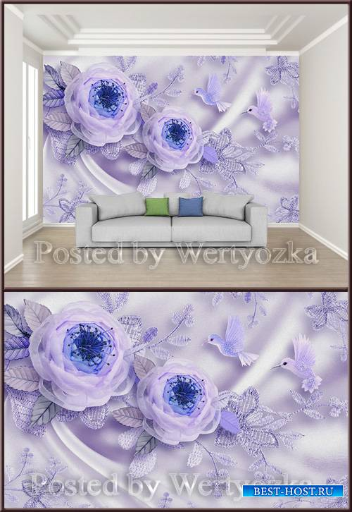 3D psd background wall wedding room silk flowers bird