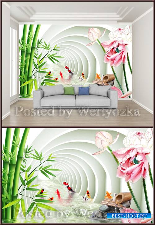 3D psd background wall three dimensional bamboo lotus carp