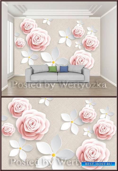 3D psd background wall pink flower rose