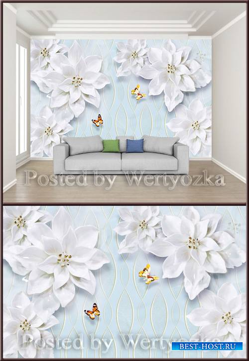 3D psd background wall minimalist embossed floral