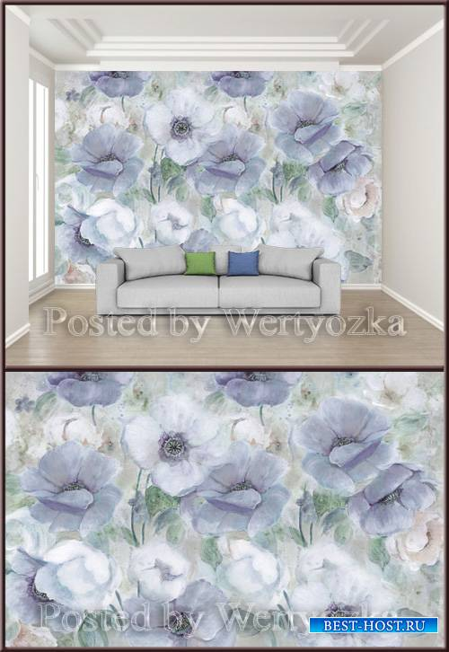 3D psd background wall minimalistic hand drawn floral