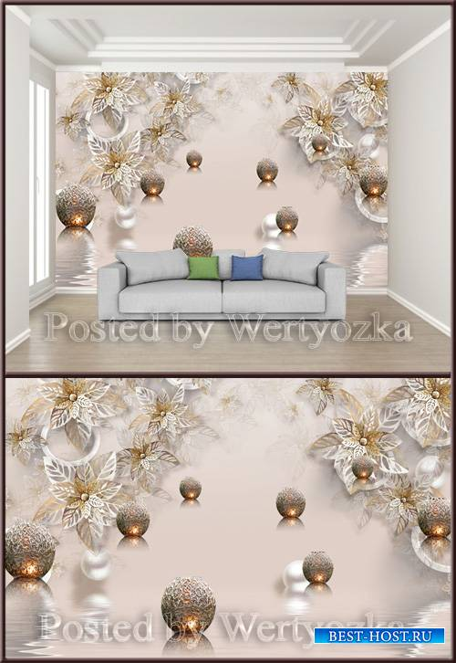 3D psd background wall metal flower jewelry