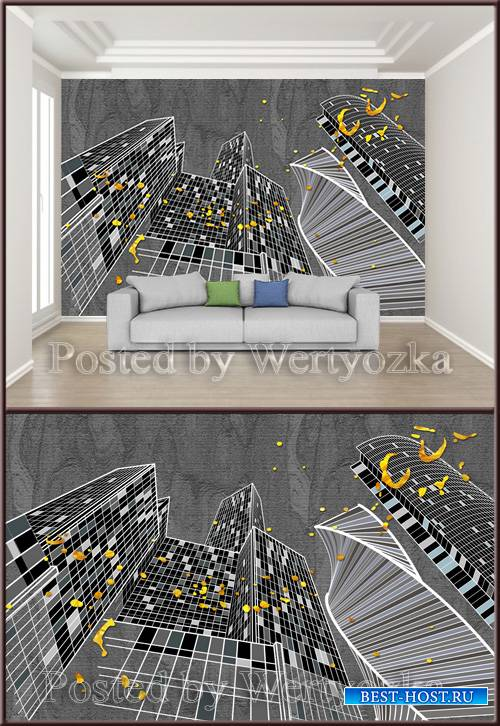3D psd background wall geometric lines city silhouette