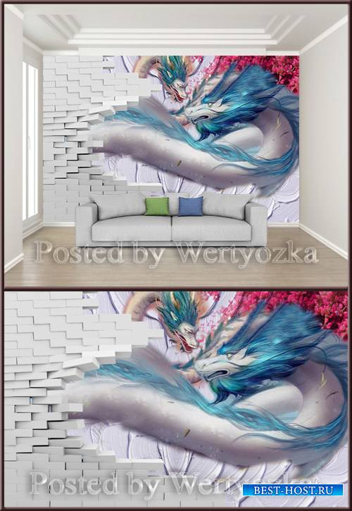 3D psd background wall double dragon broken