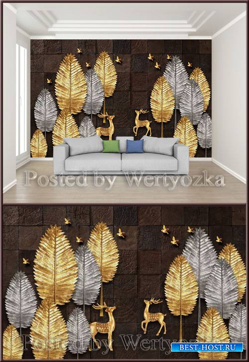 3D psd background wall chinese creative gold silver tree elk