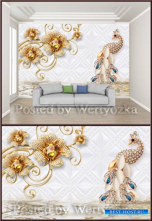 3D psd background wall diamond jewel peacock