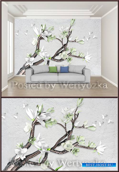 3D psd background wall magnolia butterfly