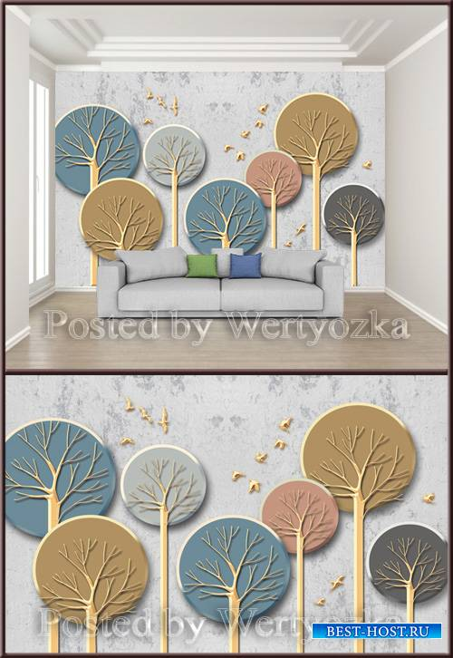 3D psd background wall metal wood tree stone
