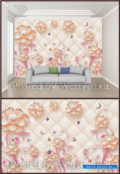 3D psd background wall jewelry flower pearl butterfly