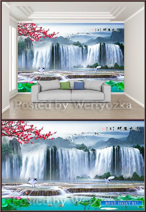 3D psd background wall chinese painting flowing water