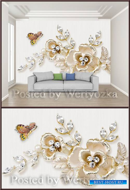 3D psd background wall jewelry butterfly