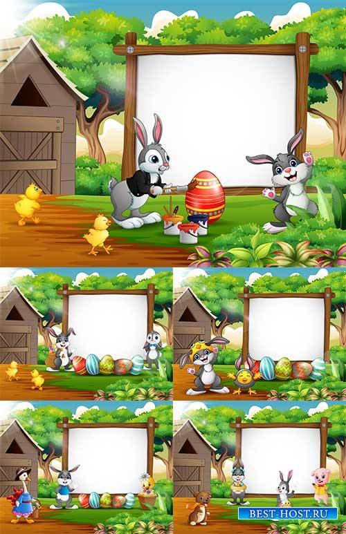 Фоны к Пасхе в векторе 2 / Easter backgrounds in vector 2