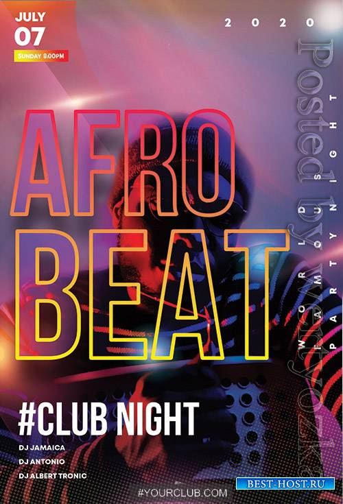 Afro Beat Club Night - Premium flyer psd template