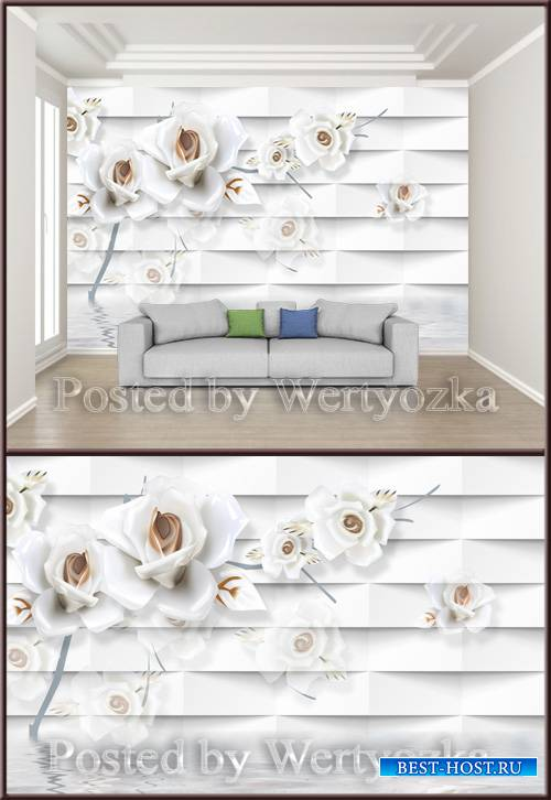 3D psd background wall white minimalist embossed rose