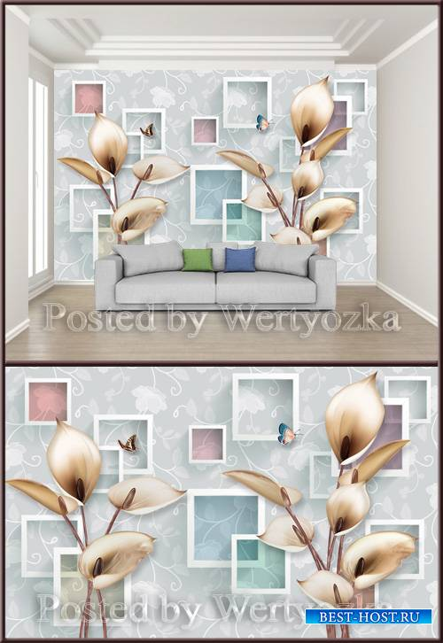 3D psd background wall calla