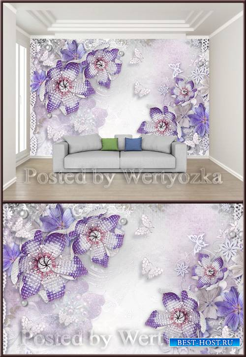 3D psd background wall beautiful jewelry diamond flower