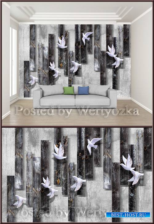 3D psd background wall vintage wooden board flying bird