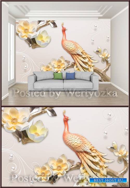 3D psd background wall pattern embossed peacock
