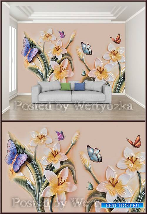 3D psd background wall modern oil painting beautiful butterfly