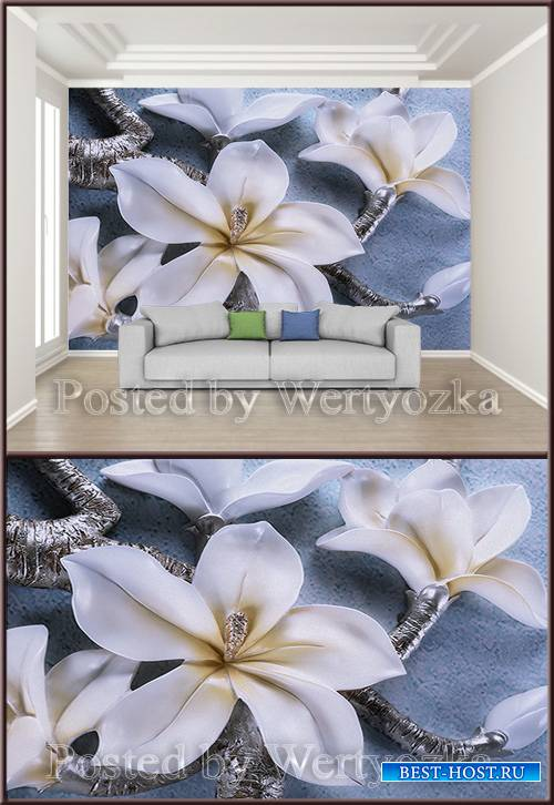 3D psd background wall orchid relief
