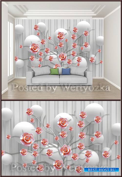 3D psd background wall flowering ceramic embossed flower