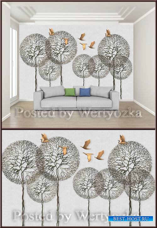 3D psd background wall embossed branches flying birds