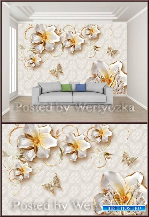3D psd background wall golden jewels flowers