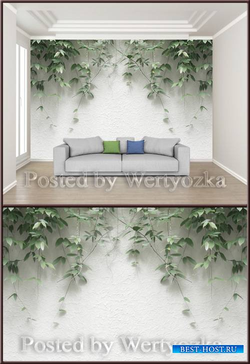 3D psd background wall modern minimalist plant