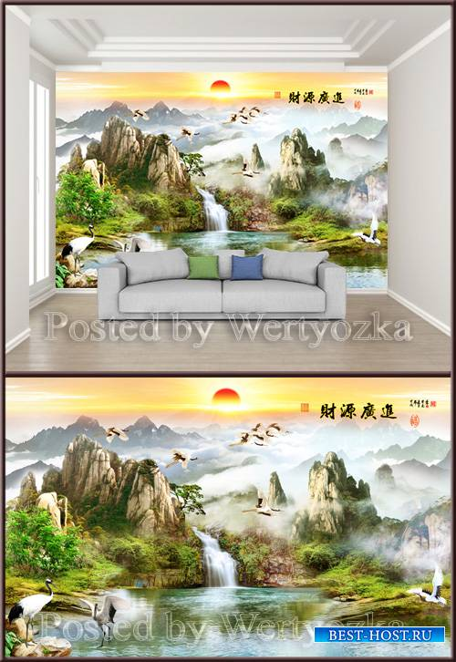 3D psd background wall chinese landscape