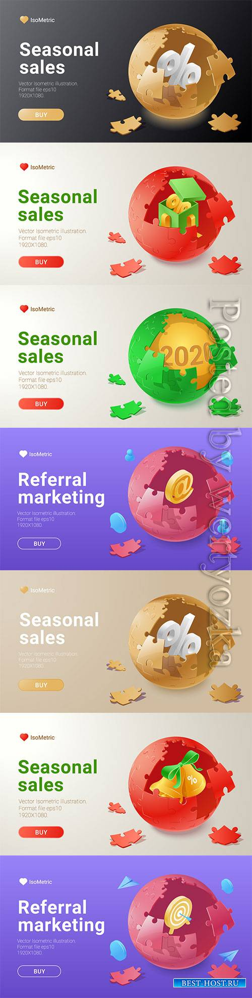 Set of banners with isometric vector illustration # 4