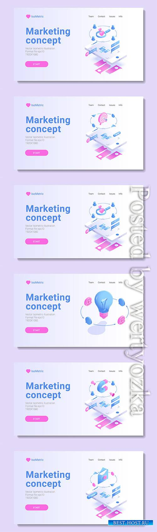 Set of banners with isometric vector illustration # 3