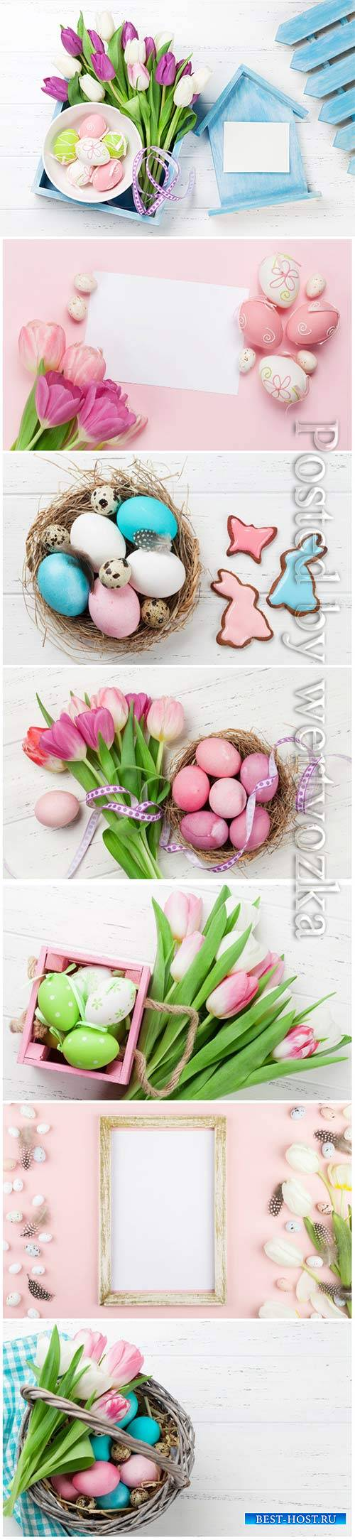 Happy Easter stock photo, Easter eggs, spring flowers # 7