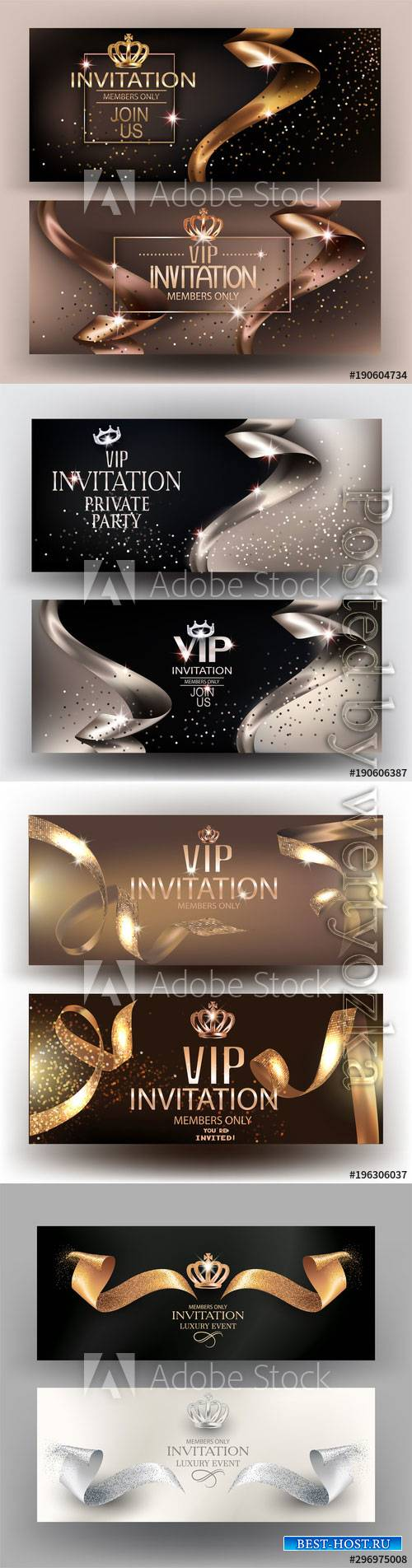 Vip elegant vector invitation cards with gold beautiful ribbons and vintage elements