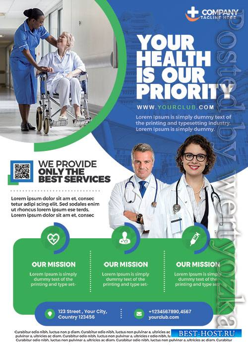 Medical Care and Hospital - Premium flyer psd template