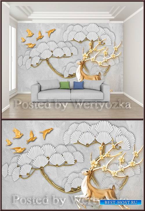 3D psd background wall beautiful embossed flowers flying bird