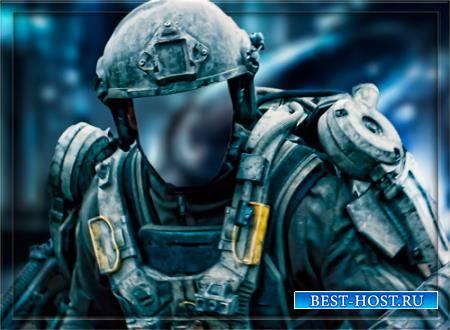 Мужской фотошаблон - Солдат будущего