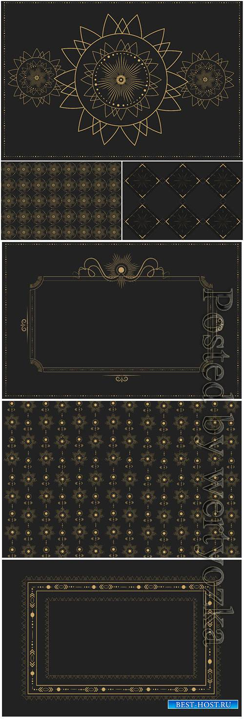Royal vector backgrounds with gold patterns