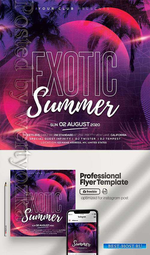 Exotic Summer Party - Premium flyer psd template