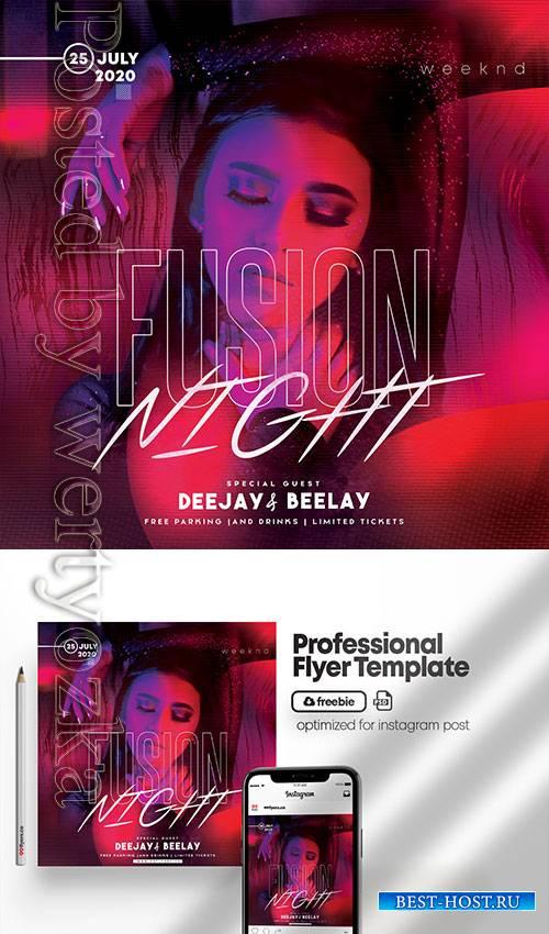 Fusion Night - Premium flyer psd template