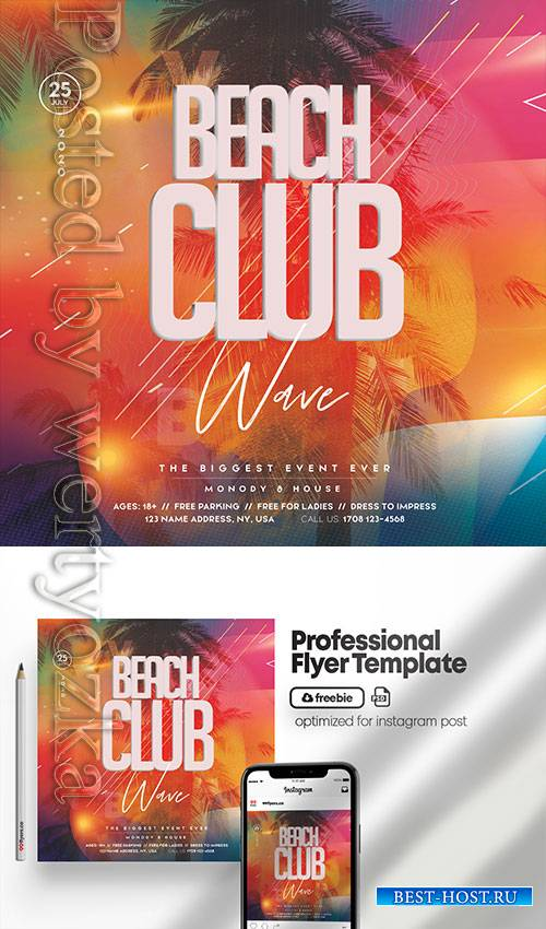 Beach Club Party - Premium flyer psd template