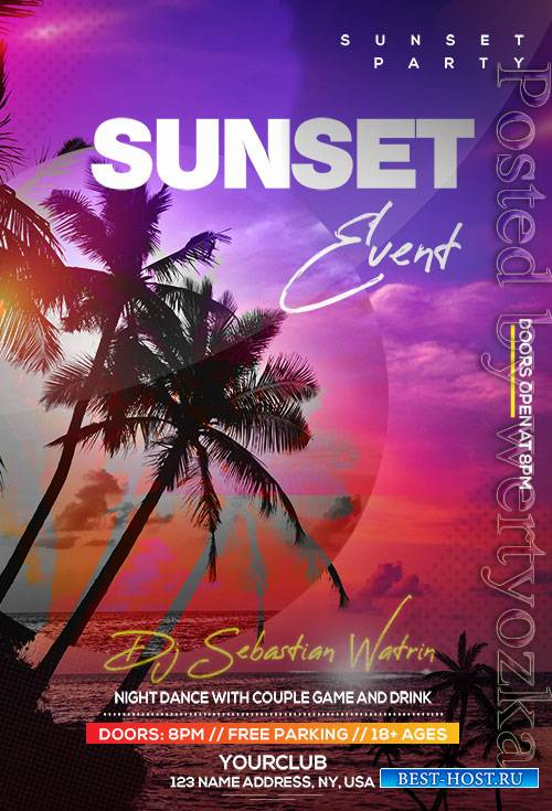 Sunset Event - Premium flyer psd template