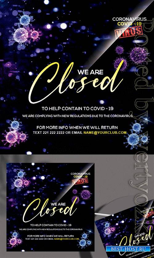 CoronaVirus Closed - Premium flyer psd template