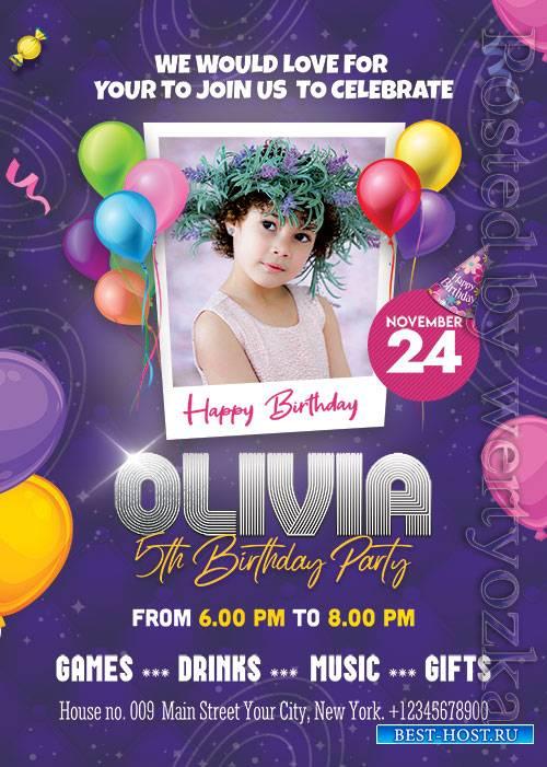 Birthday Party Invitation - Premium flyer psd template