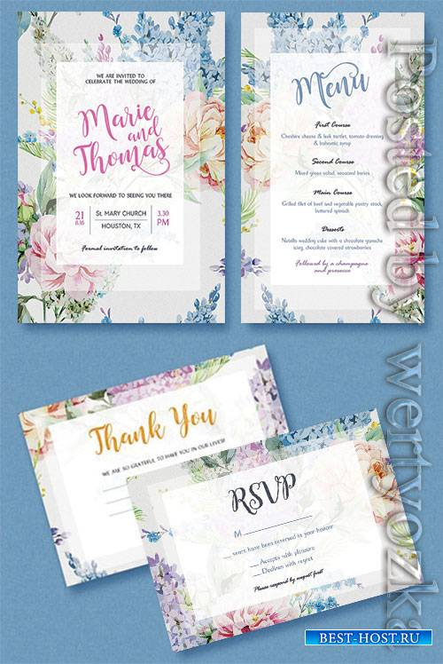Floral Wedding Invitation - Premium flyer psd template