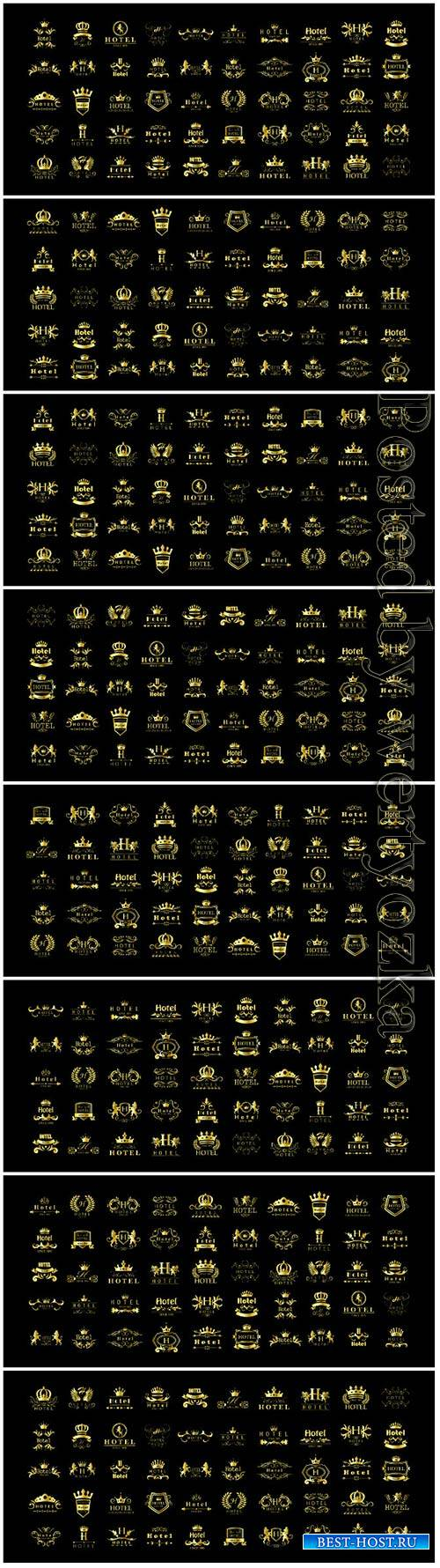 Golden hotel luxury logo vector set
