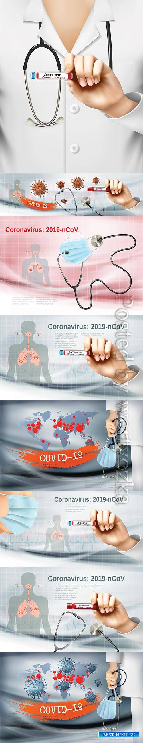 Coranavirus background with doctor holding tube with pasitiv test and stethoscope
