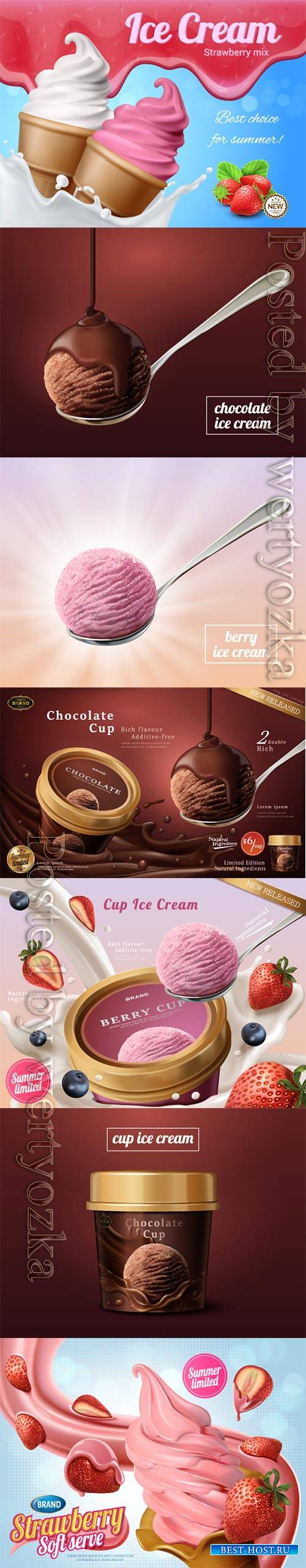 Ice cream advertisement vector collection